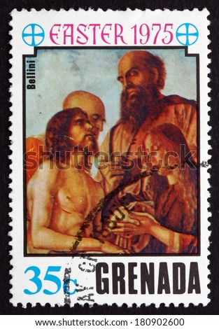 GRENADA - CIRCA 1975: a stamp printed in Grenada shows Descent from the Cross, Painting by Bellini, Easter, circa 1975 - stock photo