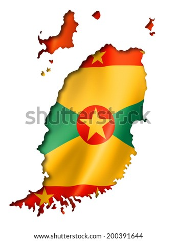 Grenada flag map, three dimensional render, isolated on white - stock photo
