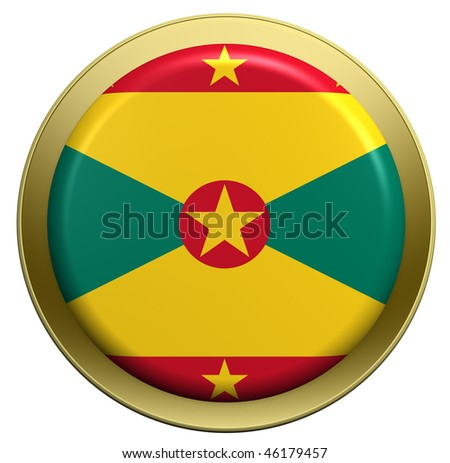 Grenada flag on the round button isolated on white. Computer generated 3D photo rendering. - stock photo