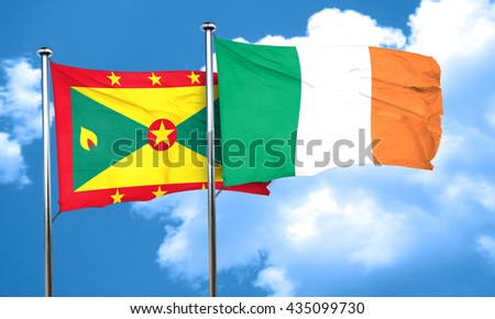 Grenada flag with Ireland flag, 3D rendering