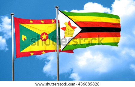 Grenada flag with Zimbabwe flag, 3D rendering