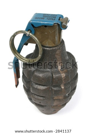 Grenade isolated on white with work path. - stock photo