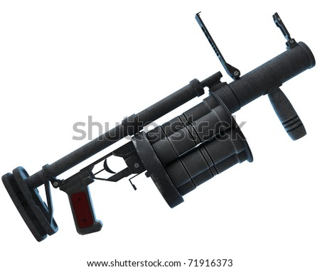 grenade launcher RG6, modern Russian weaponry. isolated over white background - stock photo
