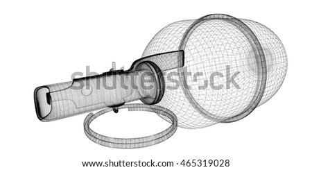 grenade on background, body structure , wire model. 3d rendering