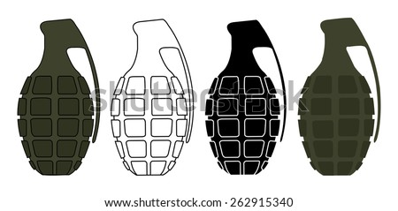 Grenades set. Color, contour, silhouette, no outline. Raster clip art illustrations isolated on white  - stock photo