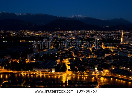Grenoble by night - view from Bastille