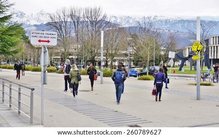 GRENOBLE, FRANCE -26 FEB 2015- Editorial: The University of Grenoble campus (domaine universitaire), nestled in a valley at the foot of the Alps in Isere, houses many different schools and institutes.