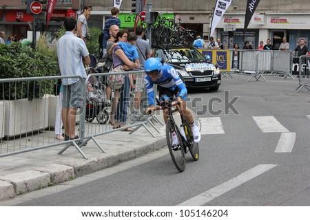 "GRENOBLE, FRANCE - JUN 3: Professional racing cyclist Koldo Fernandez rides UCI WORLD TOUR ""CRITERIUM DU DAUPHINE LIBERE"" time trial on June 3, 2012 in Grenoble, France. Luke Durbridge wins the stage - stock photo"