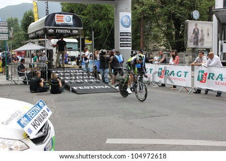 "GRENOBLE, FRANCE - JUN 3: Professional racing cyclist Leigh Howard rides UCI WORLD TOUR ""CRITERIUM DU DAUPHINE LIBERE""  time trial on June 3, 2012 in Grenoble, France. Luke Durbridge wins the stage - stock photo"