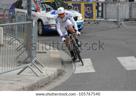 GRENOBLE, FRANCE - JUN 3: Professional racing cyclist Matthieu Ladagnous rides UCI WORLD TOUR CRITERIUM DU DAUPHINE LIBERE time trial on June 3, 2012 in Grenoble, France. Luke Durbridge wins the stage - stock photo