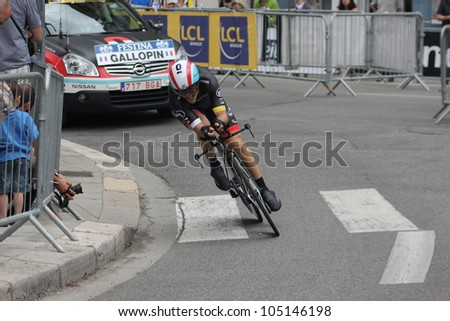 """GRENOBLE, FRANCE - JUN 3: Professional racing cyclist Tony Gallopin rides UCI WORLD TOUR """"CRITERIUM DU DAUPHINE LIBERE"""" time trial on June 3, 2012 in Grenoble, France. Luke Durbridge wins the stage - stock photo"""