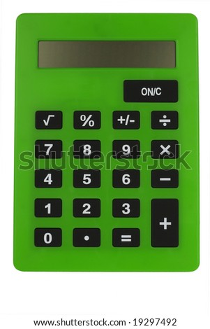 greren calculator isolated n the white background - stock photo