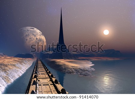 Gresor - Alien Planet, fantasy landscape with a tower, moon and sun - stock photo