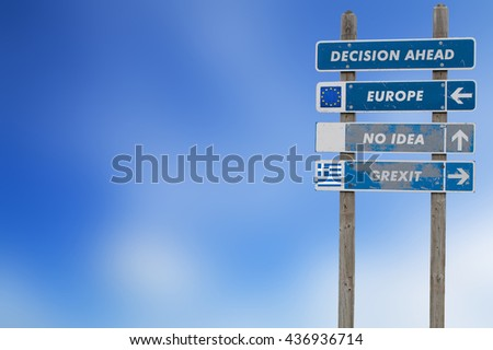 Grexit concept with sign post