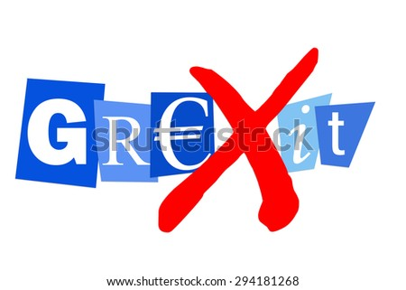 Grexit greek financial debt crisis may lead to greek euro exit - stock photo
