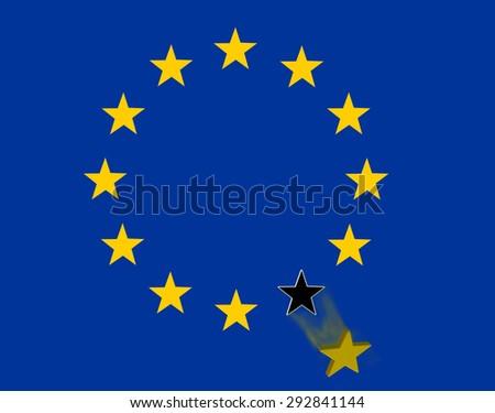 grexit - star falling in European union  flag - stock photo