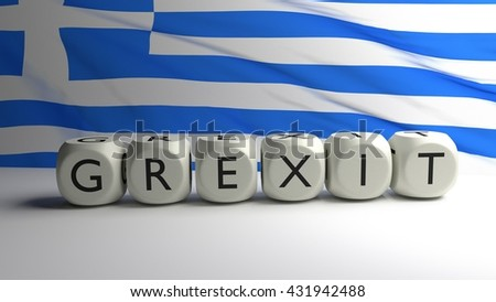 Grexit written on dices with Greek flag in background, Greece leaving eurogroup, euro zone and European Union, 3D render - stock photo