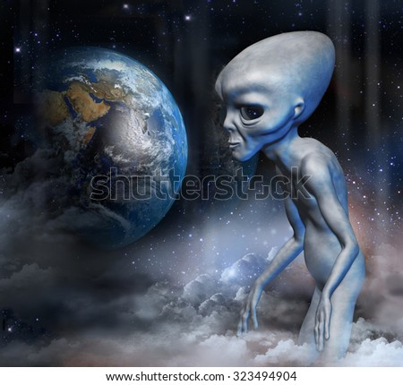 Grey alien in earth orbit is watching the planet earth. Digital illustration.
