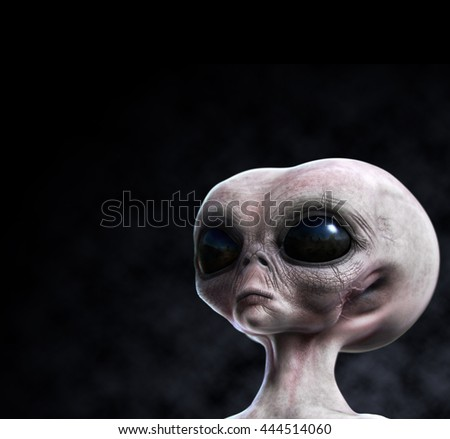 Grey alien portrait with composition area 3d render illustration