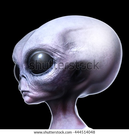 Grey alien side view isolated on black 3d render illustration