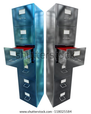 Grey and blue filing cabinet for documents with important information - stock photo
