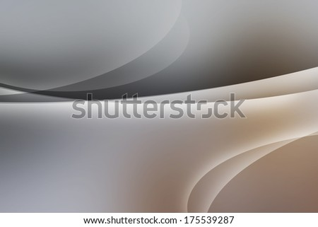 Grey and brown abstract background. White smooth twist light lines background.