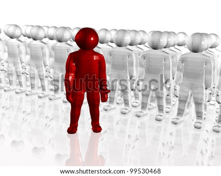 Grey and red mans with globe on white background. - stock photo