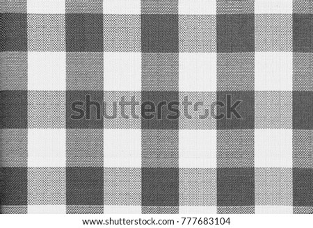 Nice Grey And White Checkered Table Cloth Background. Textile Pattern.