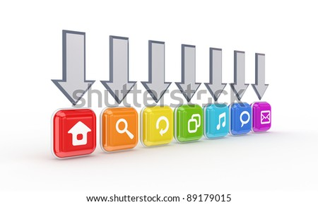 Grey arrows and colorful icons.Isolated on white background.3d rendered. - stock photo