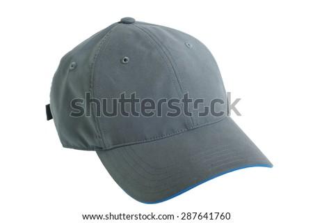 Grey baseball cap isolated on white background - stock photo