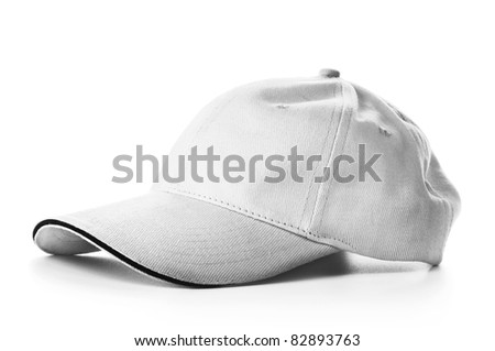 Grey baseball cap isolated on white background - stock photo