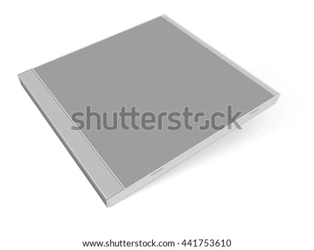 Grey blank cd case 3D rendering - put your own design on it! - stock photo