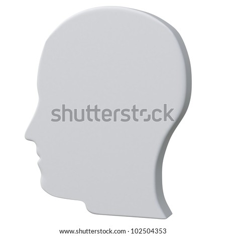 Grey blank 3d human head icon
