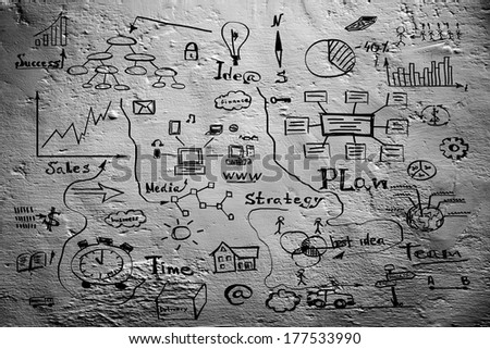Grey blank with business sketches background - stock photo