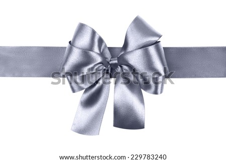 grey blue bow photo made from silk - stock photo