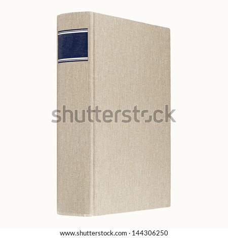 Grey book isolated on white, blue frame for title on the spine - stock photo