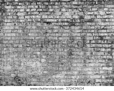 Grey brick wall texture background. Vintage effect.  - stock photo