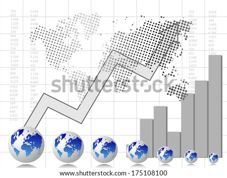 Grey business card with chart and arrow - stock photo