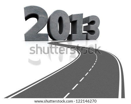 Grey car road with number 2013, 3d image - stock photo