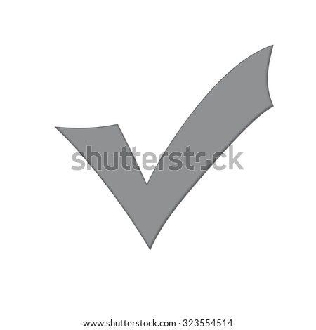 Grey check mark isolated on a white background. - stock photo