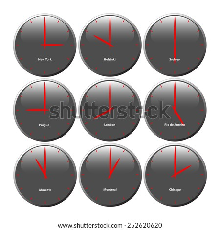 Grey clocks with glossy area showing world time, the red pointer - stock photo