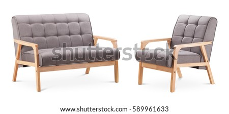 grey color sofa and grey color armchair modern designer sofa and armchair on white background