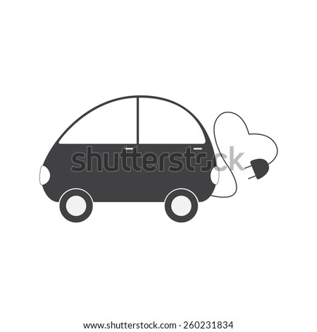 Grey colored electric vehicle with cable in the shape on heart and plug isolated on white background. Eco friendly transportation concept. Logo template, design element - stock photo