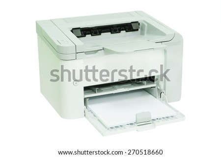 Grey computer printer - stock photo
