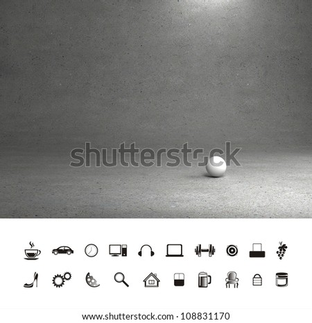 Grey concrete room. Background. Wall and floor. - stock photo