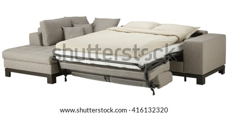 Grey corner couch bed isolated on white include clipping path - stock photo