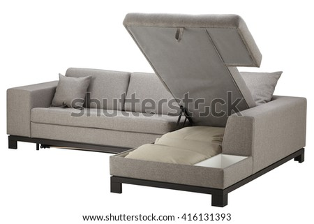 Grey corner couch bed with storage isolated on white include clipping path