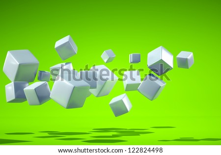 grey cube and green background - stock photo