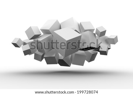 Grey cubes floating in a cluster on white background