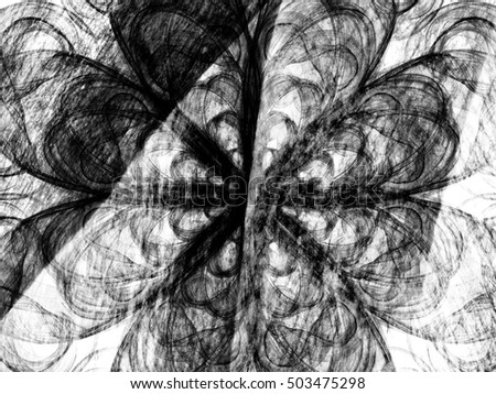 grey curly lines abstract flower ornament weave background